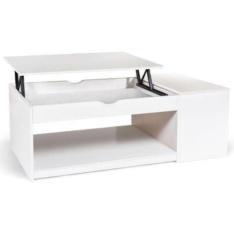 Table basse plateau relevable ELEA avec coffre bois blanc