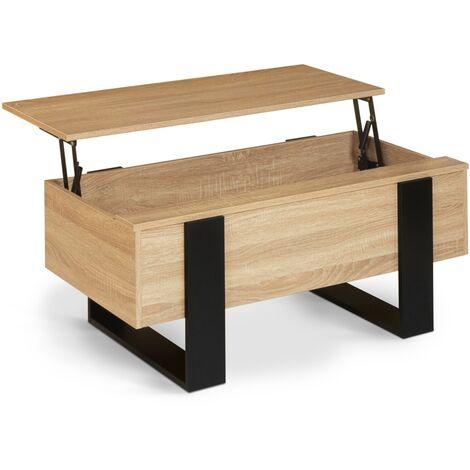 """main image of """"Table basse plateau relevable PHOENIX bois et noir"""""""