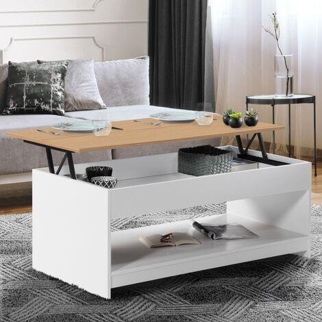 Table basse plateau relevable SOA bois blanc plateau hêtre