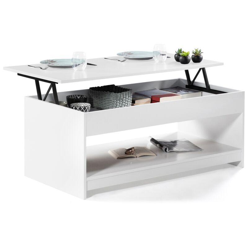 Table basse plateau relevable soa bois blanche 13313 Table basse blanche plateau relevable