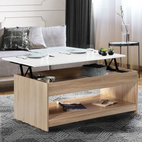 "main image of ""Table basse plateau relevable Soa bois imitation hêtre plateau blanc"""