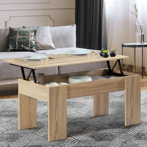 Table basse plateau relevable TARA bois imitation hêtre
