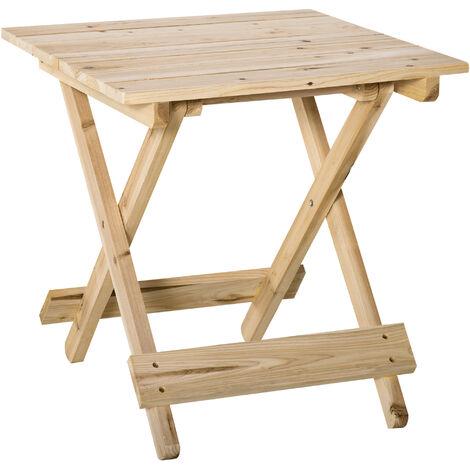 Table basse pliable de jardin camping plateau à lattes dim. 50L x 50l x 51H cm bois massif sapin naturel - Beige