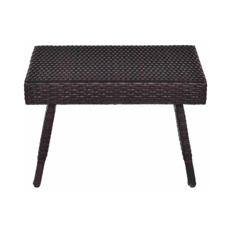 Table Basse Pliable de Jardin en Résine Table Basse Tréssée pour Salon  Jardin Balcon Terrasse 60 x 40 x 39 CM Brun