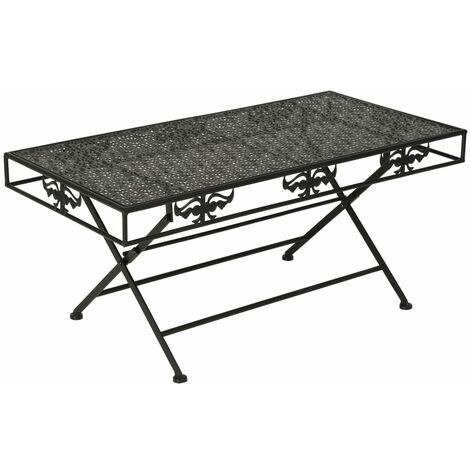 Table basse pliante Style vintage Métal 100 x 50 x 45 cm Noir