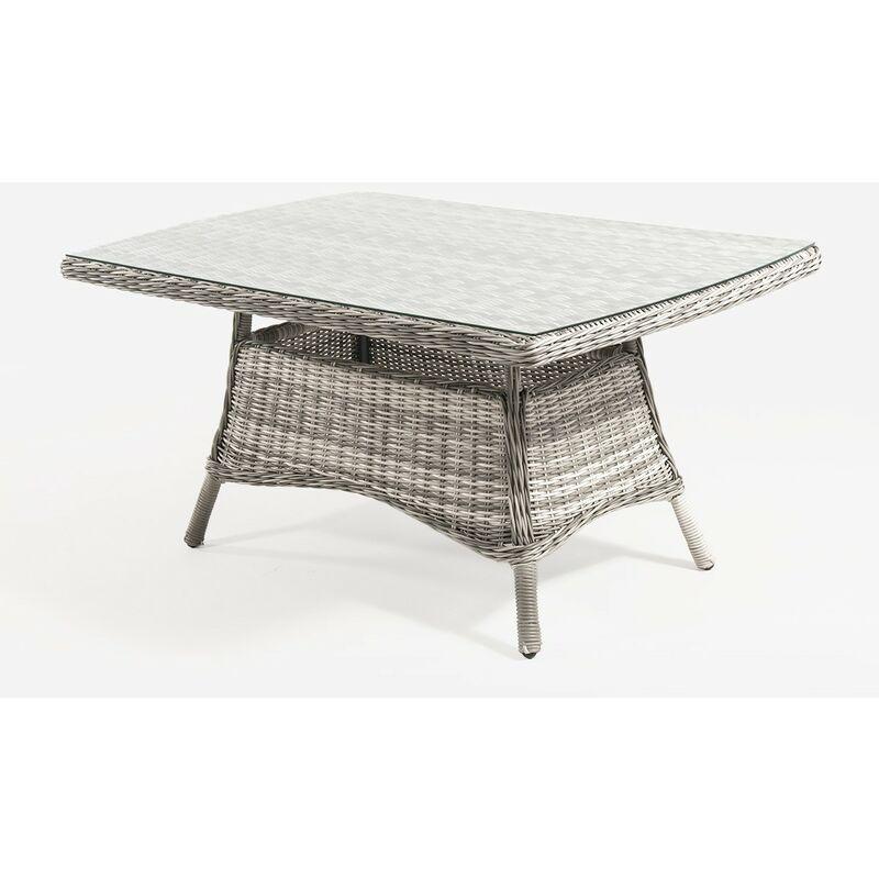 Table basse pour extérieur, aluminium et rotin synthétique rond, couleur gris, dimensions : 140 x 85 x 67 cm - Gris-redondo