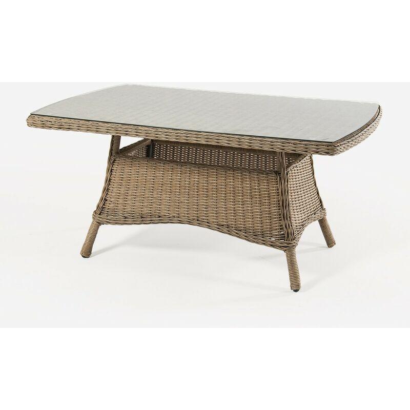 Table basse pour extérieur, aluminium et rotin synthétique, ronde, couleur naturelle, dimensions : 140 x 85 x 67 cm - Natural-redondo