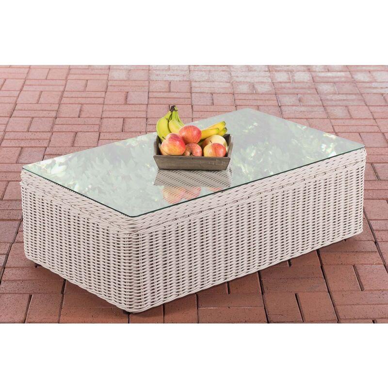 CLP - Table basse pour salon d'extérieur Tibera 5mm en polyrotin rond/blanc perle