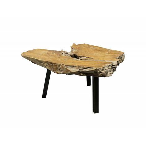 Table Basse Racine de Teck et Pieds métal Noir - PADANG - Bois