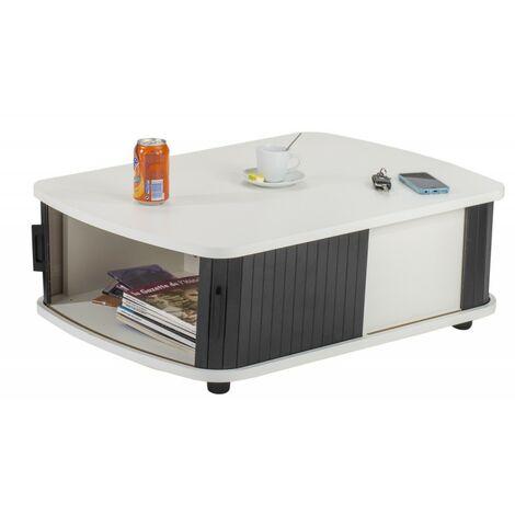 Table Basse Rectangle 80 cm Blanche - Coloris: Noir