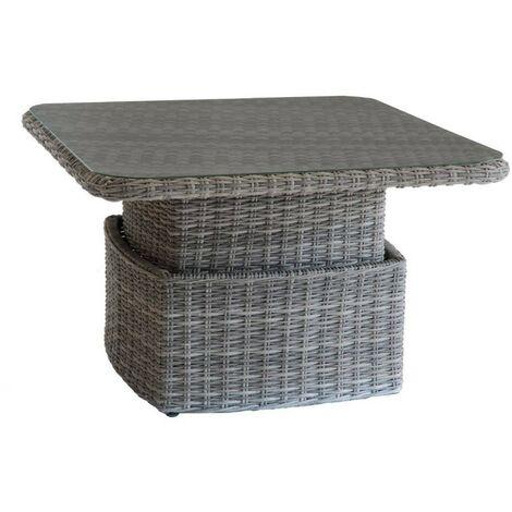 Table basse relevable de jardin en résine tressée Moorea - L. 110 x H. 45 cm - Gris ombre - Gris