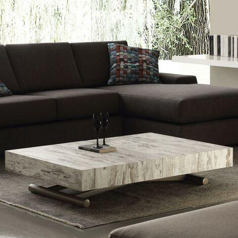 Table basse relevable extensible BLOCK design vintage piétement taupe 80 x 120 cm - vintage