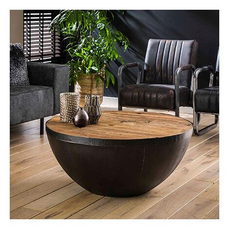 """main image of """"Table basse ronde 90x40 cm en bois recyclé et métal - GLADYZ"""""""