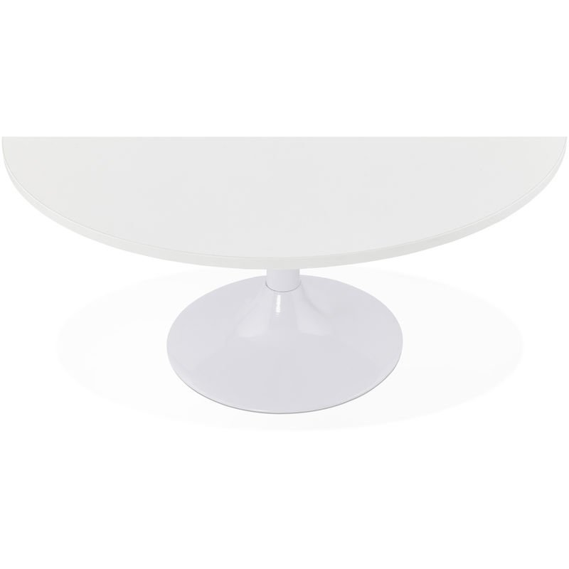 Table Basse Ronde Blanche 90 X 90 X 45cm Pegane 63kk Ct00610wh