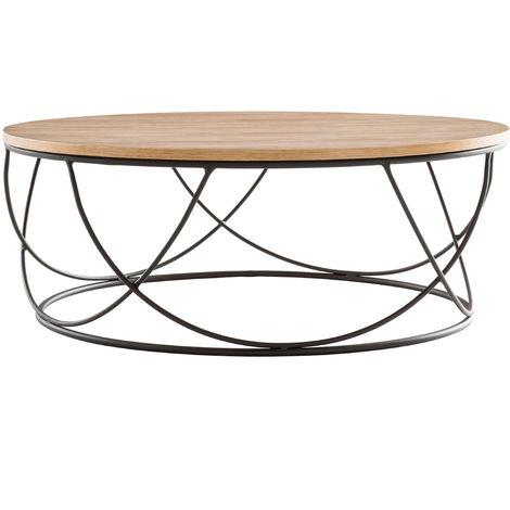 Table Basse Ronde Bois Et Métal Noir D80 X H30 Cm Lace 44030