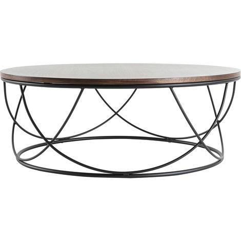 Table Basse Ronde Bois Foncé Et Métal Noir D80 X H30 Cm Lace