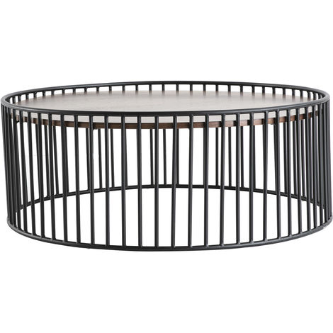 Table basse ronde design bois métal D93 x H35 cm HARP