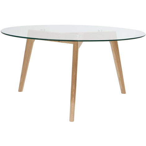 plus de photos c5ccb 2aad6 Table basse ronde design contemporain verre et bois DAVOS ...