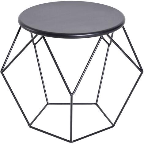 """main image of """"Table basse ronde design industriel néo-rétro dim. 51L x 51l x 44H cm plateau Ø 40 cm acier noir - Noir"""""""