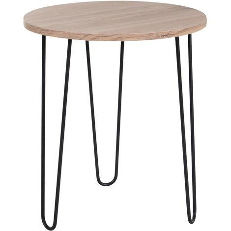 Table basse ronde design industriel pieds métal noir en épingle Ø 39 x 45H cm MDF imitation chêne