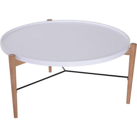 Table Basse Ronde Scandinave.Table Basse Ronde Design Scandinave O 90 X 45h Cm Metal Mdf Bois Massif Et Blanc