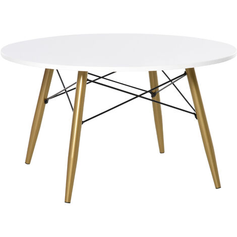 "main image of ""Table basse ronde design scandinave dim. Ø 80 x 45H cm métal MDF blanc - Blanc"""