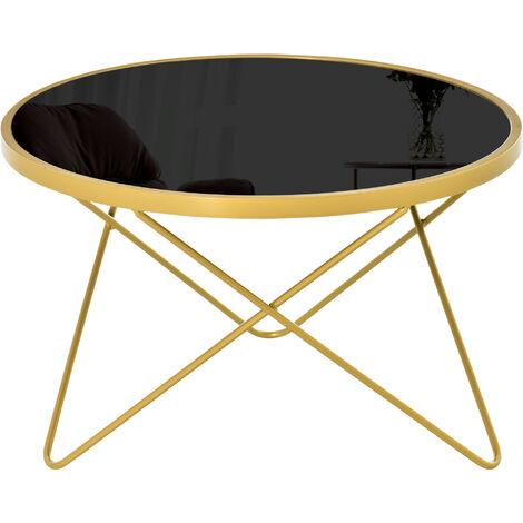 """main image of """"Table basse ronde design style art déco Ø 65 x 40H cm plateau verre trempé noir châssis acier doré - Noir"""""""