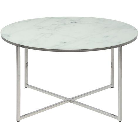 Table basse ronde effet marbre blanc et pieds en métal 80 cm ALCINO
