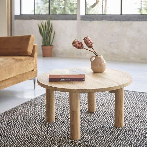 Table basse ronde en bois de teck 80 cm - Naturel