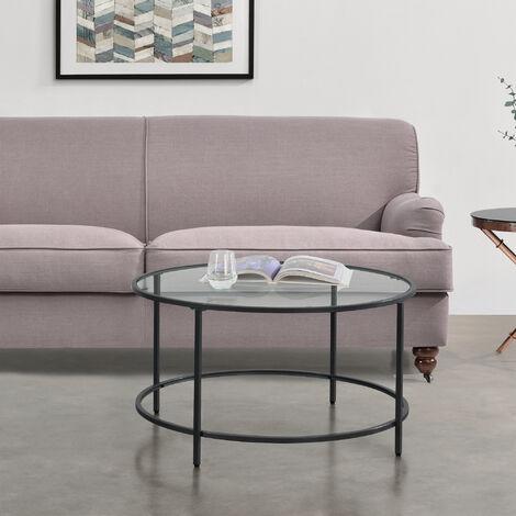 """main image of """"Table Basse Ronde pour Salon Petite Table Stylée Plateau en Verre Pieds en Acier 84 x 45,5 cm Noir"""""""