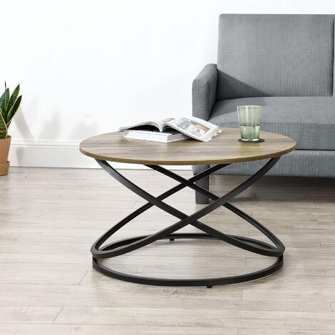 """main image of """"Table Basse Ronde Table de Salon Design Intemporel Panneaux de Particules Métal Couleur Bois et Noir 46 x 79 cm"""""""