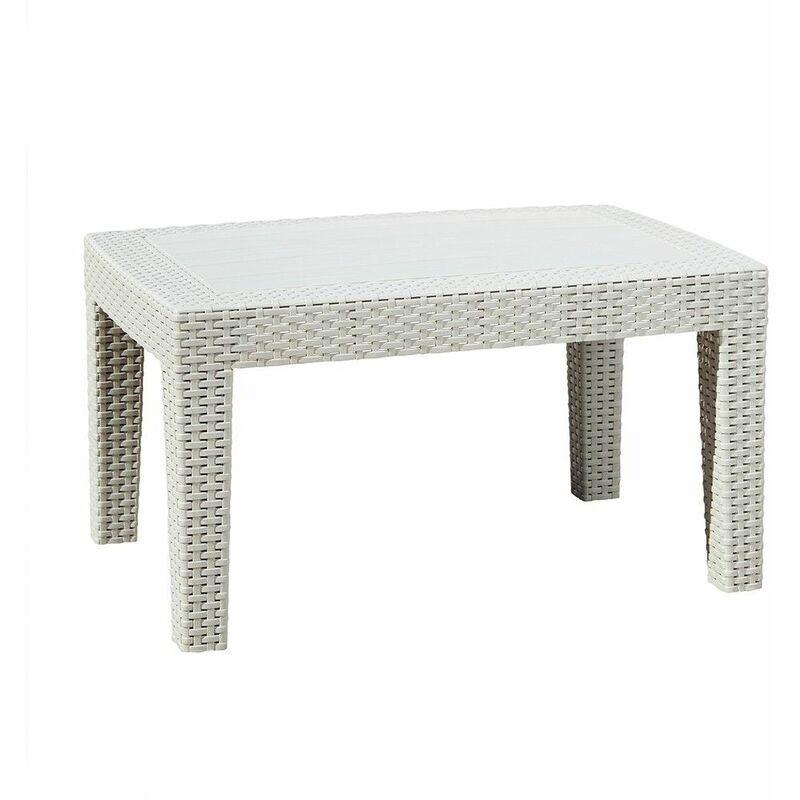 Table basse Rotin Gris Mobilier d'Extérieur Résistant Intempéries - Trueshopping