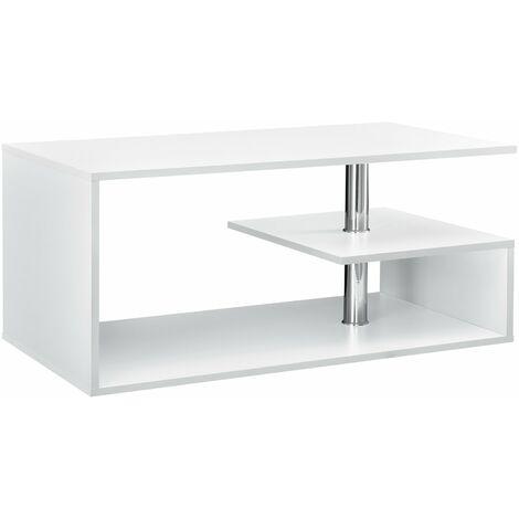 Table basse salon avec étagère rangement en MDF 90 cm blanc - Blanc