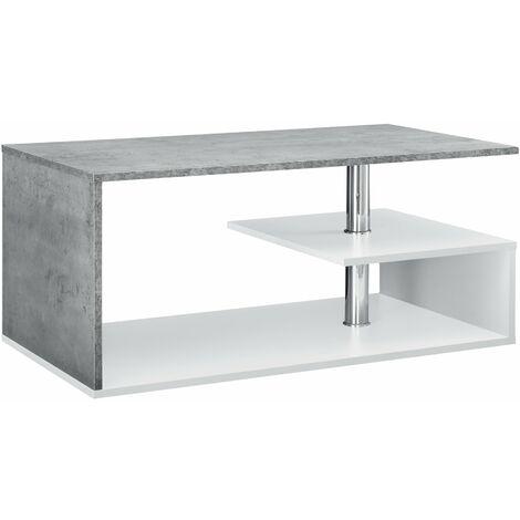 Table basse salon avec étagère rangement en MDF 90 cm blanc et béton - Blanc
