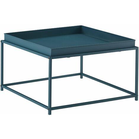 Table basse salon avec plateau amovible en métal 59 x 59 cm turquoise - Métal
