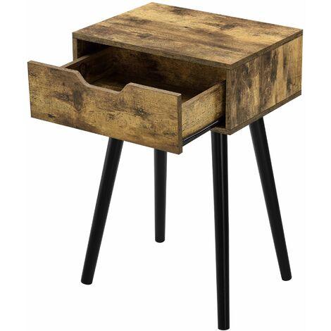 Table basse salon meuble avec tiroir panneau bois revêtu PVC 60 cm bois foncé - Bois
