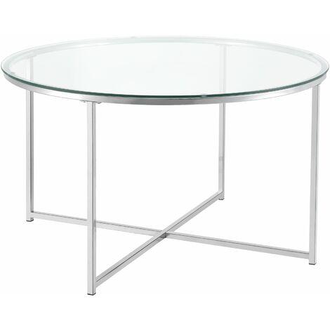 Table basse salon ronde plateau en verre pieds acier 80 x 48 cm argenté - Argenté