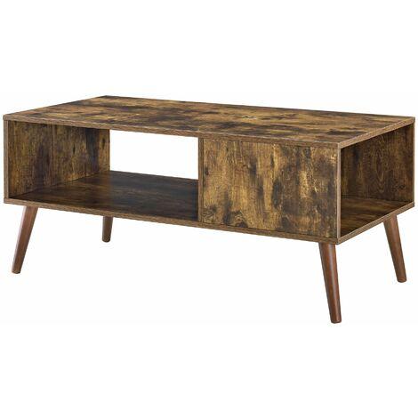 Table basse salon stockage meuble panneau de particules mélaminé bois 100 cm marron - Bois