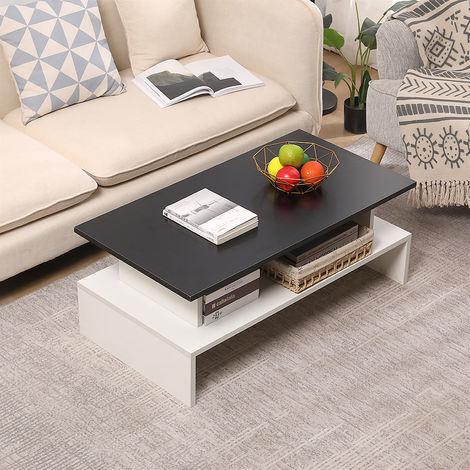 Table Basse scandinave - 2 etageres table rangement Blanc sur le Noir 97*51*38cm