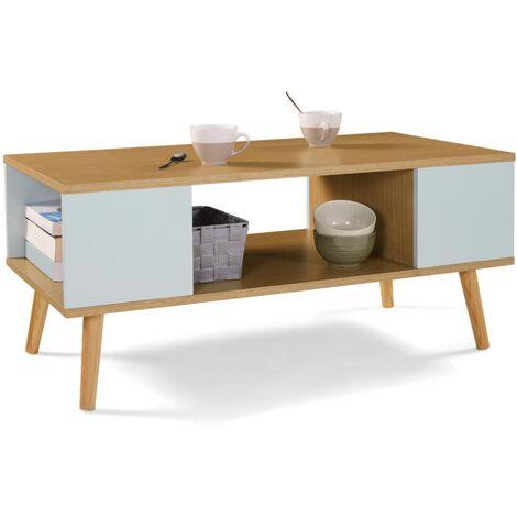 "main image of ""Table basse scandinave ALIZE bois et vert"""