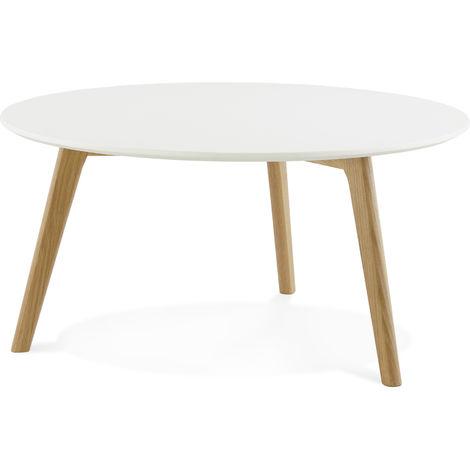 Table Basse Scandinave Blanche 90 X 90 X 45 Cm Pegane 63kk