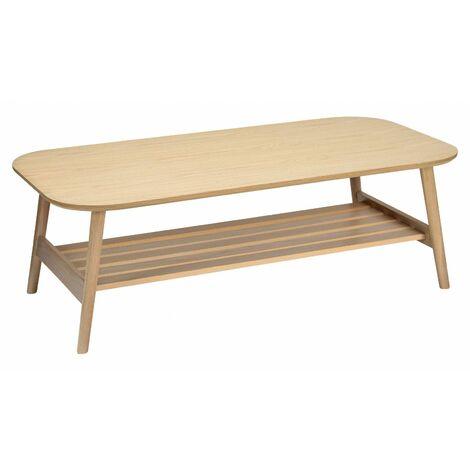 "main image of ""Table basse scandinave en Chêne - Double plateau 120 x 40 cm - OTELO - Bois Clair"""