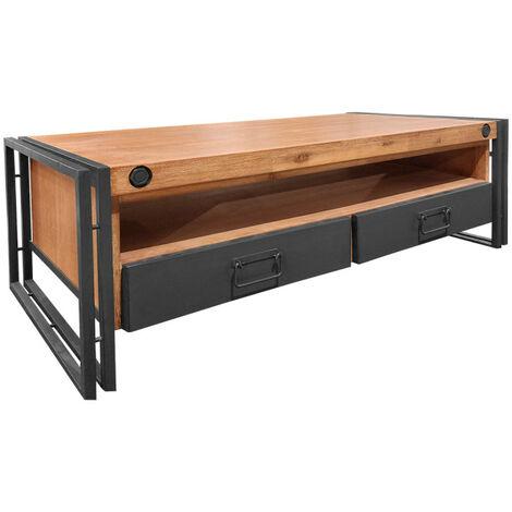 Table Basse Style Industriel 2 Tiroirs Et Niche Workshop 67087260