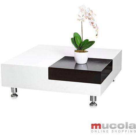 Table Basse Table D Appoint Table De Salon Table En Verre Design Blanc Noir Nouveau 10001273