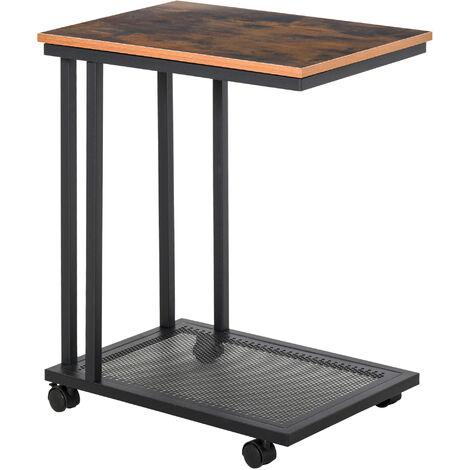 Table basse table d'appoint Vintage style industriel étagère acier noir MDF coloris boisé