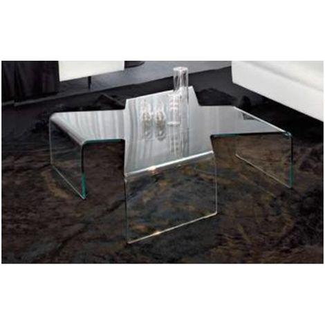 Table Basse Verre CROSS 90*90*30 cm - Verre Translucide