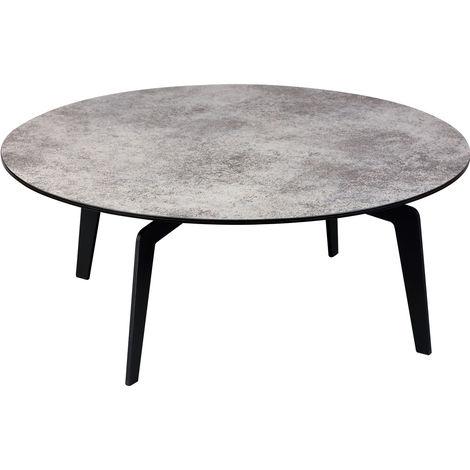 Table basse verre durci (démontée) - Dim : Ø90 x Ht.36 cm -PEGANE-