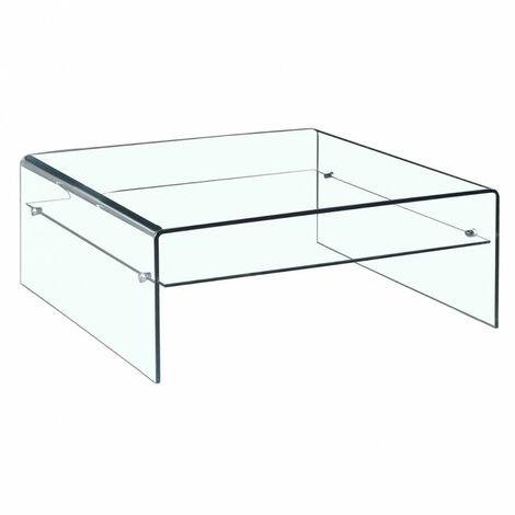 Table basse verre trempé design carré avec étagère vitrée - ICE - Transparent