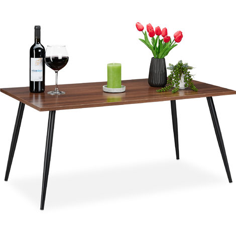 Table basse,carrée, effet noyer avec pieds métalliques,table d'appoint moderne avec dimensions HlP45x100x55cm