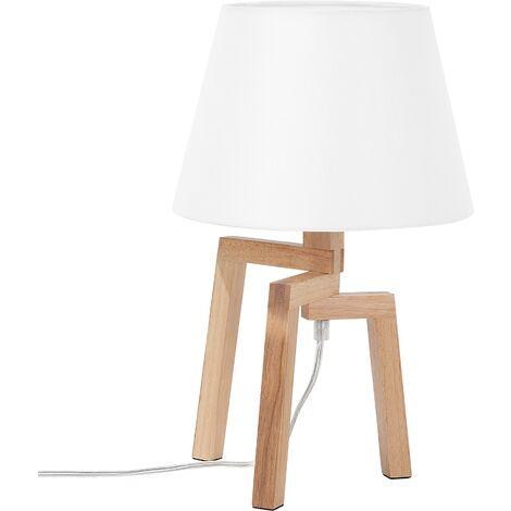 "main image of ""Table Bedside Reading Lamp Light Tripod Creative Unique Light Wood White Nalon"""